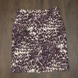 J. Crew Purple Animal Print Skirt, Size 6 wool